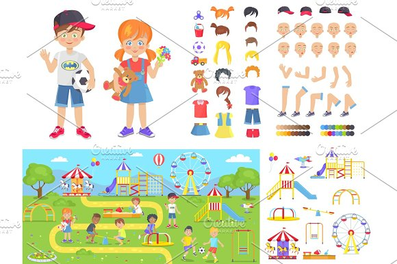 Little Children And Summer Playground Constructors