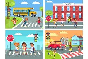 Schoolchildren Cross Road on Pedestrian Crossing