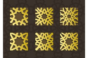 Traditional east geometric decorative pattern gold style. Arabic pattern background. Islamic ornament vector.