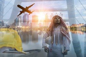 Double exposure of Arab engineer