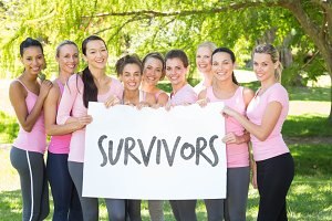 Composite image of survivors in pink