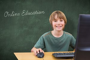 Online education against green chalkboard