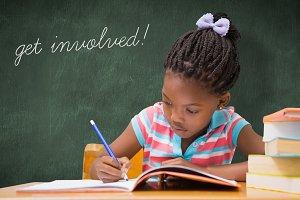 Get involved! against green chalkboard