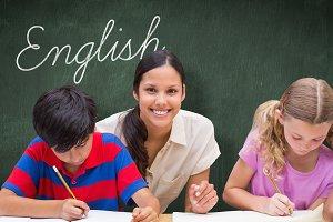 English against green chalkboard