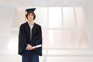 Composite image of student in graduate robe