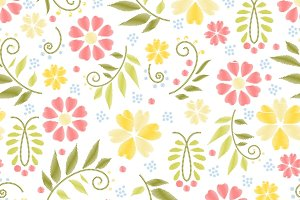 Flower embroidery seamless pattern