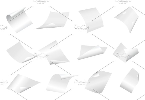 Flying Blank Paper Sheets