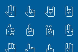 Hands line art icons and gestures