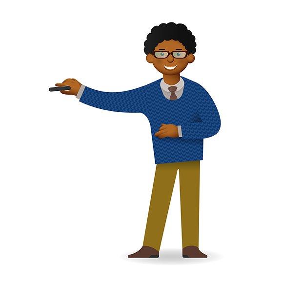Cartoon African Man Uses Pointer