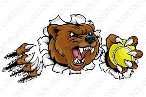Bear Holding Tennis Ball Breaking Background