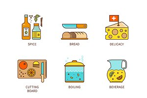 Minimal lineart cooking icon set