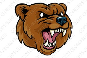 Grizzly Bear Cartoon Mascot Angry Face