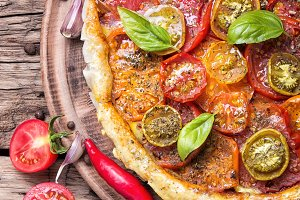 Homemade vegetarian pizza