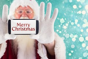 Composite image of santa records himself with a smartphone