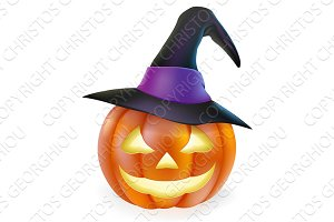 Witch hat Halloween pumpkin