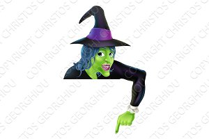 Halloween Witch Pointing Down