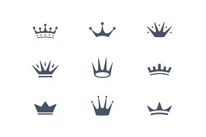 Set of royal crowns, icons and logos
