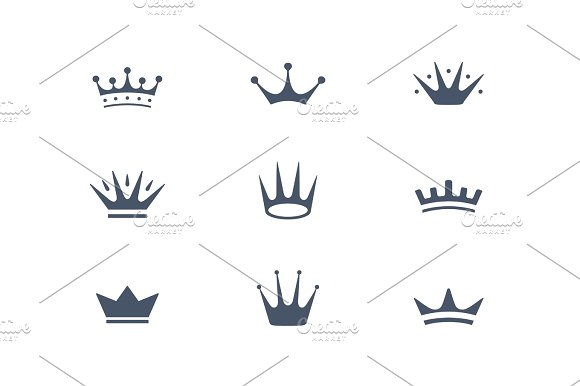 Set Of Royal Crowns Icons And Logos