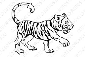Stylised tiger illustration