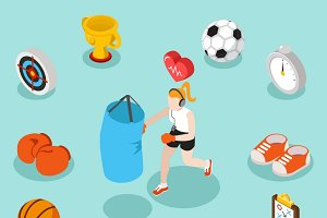 Isometric sport fitness 3d concept