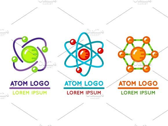 Atom Logo Set In Flat Style