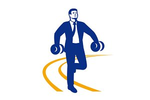 Businessman Power Walking Dumbbells