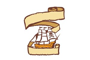 Pirate Ship Sailing Scroll Retro