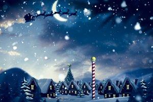 Santa delivery presents to village