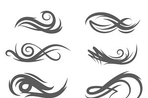 Tattoo style flourishes swirls