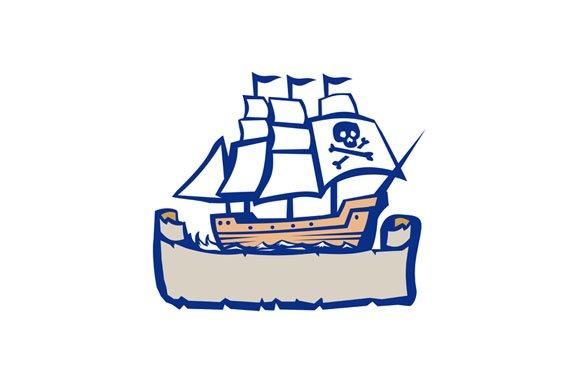 Pirate Galleon Ship Sailing Retro