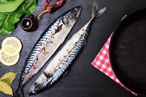 two whole mackerels