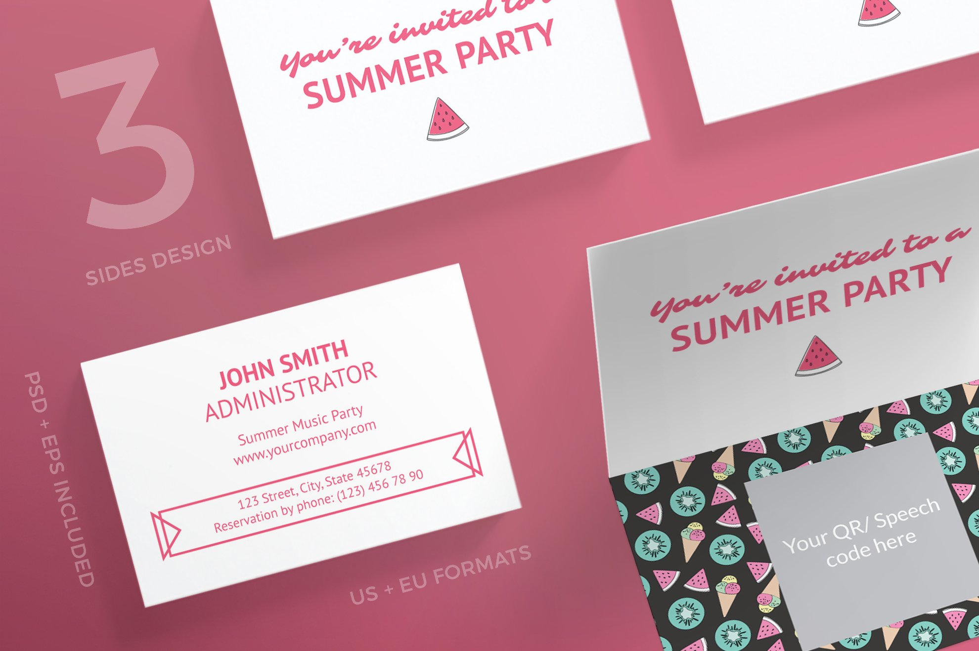 Business Cards Summer Party Card Templates Creative Market