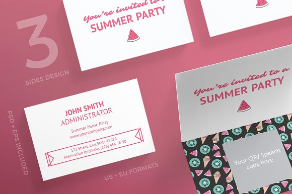 Business Cards Summer Party