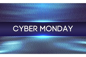 Cyber monday background. Binary code. Sale concept. Vector illustration