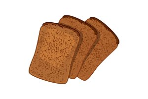 Three slices of wheat bread realistic style isolated illustration