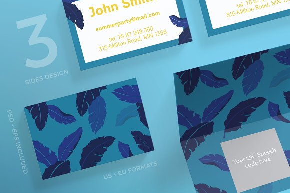 Business Cards Summer Leaves