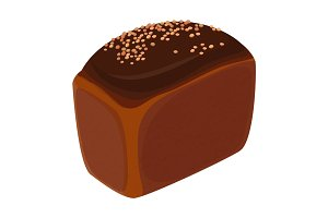 Loaf of brick bread realistic style isolated illustration