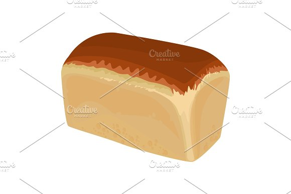 Loaf Of White Bread Realistic Style Isolated Illustration