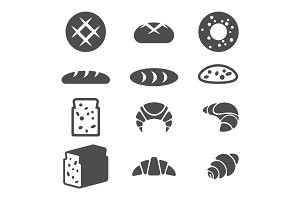 Set of grey icons of bakery products isolated illustration