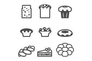 Set of icons depicting desserts realistic style illustration