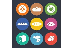 Set of colourful icons with baked goods isolated illustration