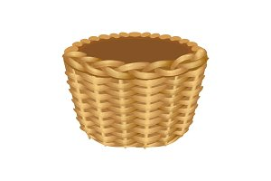 Single handle wicker basket isolated illustration on white