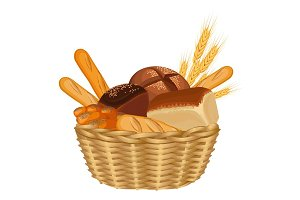 Basket filled with baked goods realistic style illustration on white