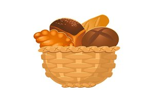 Closeup of homemade wicker basket with bakery products isolated illustration