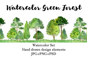 Watercolor Green Forest