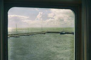 Yacht port through the porthole