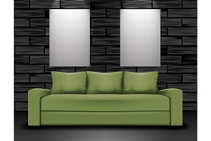 Sofa and two posters mockup. Home interior illustration