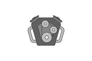Car engine flat line icon