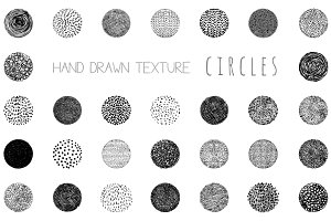Hand drawn texture circles set