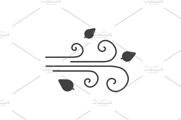 Wind Blowing Glyph Icon